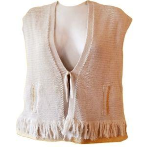 Mossimo Dutti   boho knit fringe vest gold thread
